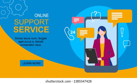 Woman Assistant on Mobile Phone Display Support Service Vector Illustration. Internet Virtual Customer Help Online Chat Message Smartphone App Female Consultant Hotline Operator Assistance