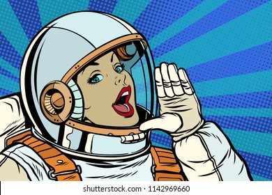 woman astronaut calling for help. Pop art retro vector illustration kitsch vintage drawing
