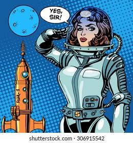 Woman astronaut captain of a spaceship science fiction. Retro style pop art