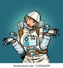 woman astronaut with dumbbells. Pop art retro vector illustration kitsch vintage drawing