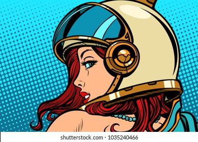 woman astronaut looking over her shoulder. Pop art retro comic book cartoon drawing vector illustration kitsch vintage