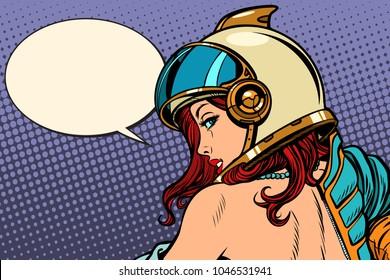 woman astronaut passionate look. Pop art retro comic book cartoon drawing vector illustration kitsch vintage
