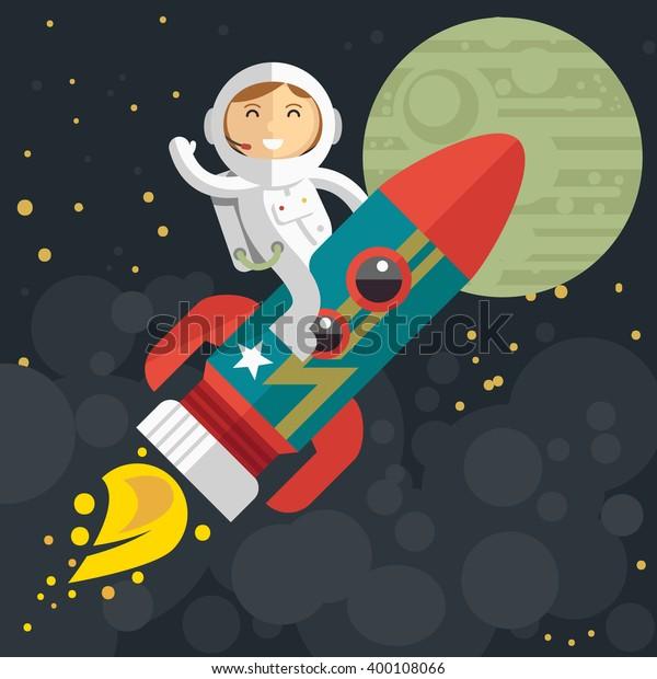 Woman astronaut riding a rocket. Vector illustration. Flat design.
