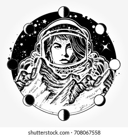 Woman astronaut tattoo art. Mountains on Mars. Symbol of space travel, scientific research. Spaceman exploring new planets