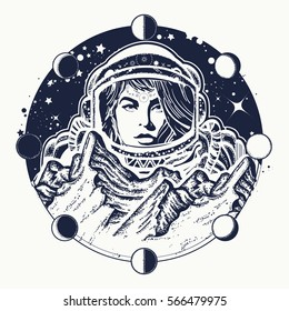 Woman astronaut tattoo art. Spaceman exploring new planets. Mountains on Mars. Symbol of space travel, scientific research t-shirt design