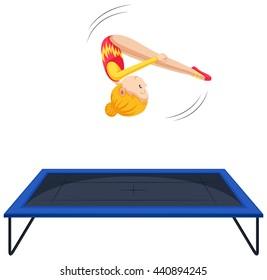 Woman athlete doing gymnastics on trampoline illustration