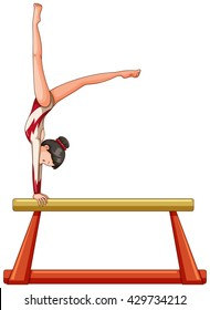 Woman athlete on balance beam illustration