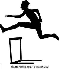 woman athlete runner run hurdles black silhouette