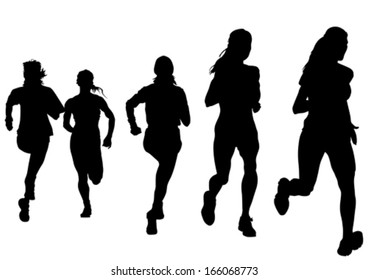Woman athletes on running race on white background.