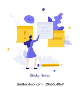 Woman attaching paper sticky notes to surface. Concept of adhesive written notification, information message, comment, reminder for work. Modern flat colorful vector illustration for banner, poster.