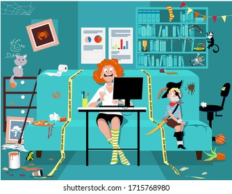 Woman attending a work video conference in a messy room with a kid tied up on a couch, yellow tape sets work place boundaries, EPS 8 vector illustration