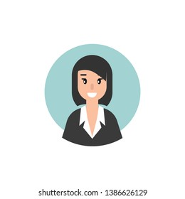 Woman attorney avatar in circle. flat vector illustration on blue background. Law consulting, juridical help online. Lawyer advice in internet. legal proceedings