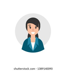 Woman attorney avatar. flat vector illustration on blue background. Law consulting, juridical help online. Lawyer advice in internet. legal proceedings