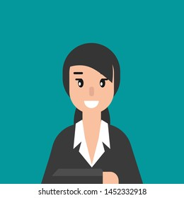 Woman attorney. flat vector illustration on blue background. Law consulting, juridical help online. Lawyer advice in internet. legal proceedings