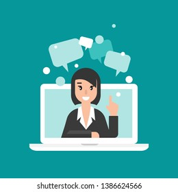Woman attorney on computer screen with speech bubbles. flat vector illustration on blue background. Law consulting, juridical help online. Lawyer advice in internet. legal proceedings