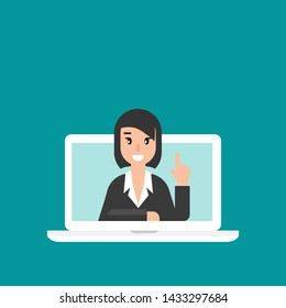 Woman attorney on computer screen. flat vector illustration on blue background. Law consulting, juridical help online. Lawyer advice in internet. legal proceedings