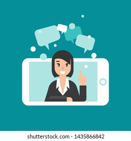 Woman attorney on phone screen with speech bubbles. flat vector illustration on blue background. Law consulting, juridical help online. Lawyer advice in internet. legal proceedings