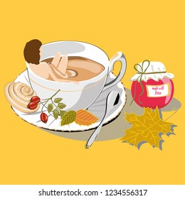 Woman and autumn tea. Vector illustration of woman bathing in autumn tea with leafs and rosehips on yellow background