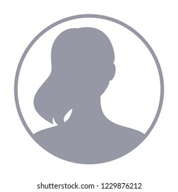 Woman avatar, default anonymous user picture, profile placeholder icon, girl no photo sign. Vector illustration.