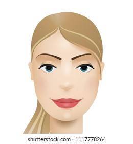 Woman avatar. Woman face. Vector gradient illustration.