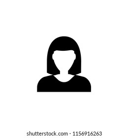Woman Avatar, Female User. Flat Vector Icon illustration. Simple black symbol on white background. Woman Avatar, Female User sign design template for web and mobile UI element