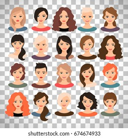 Woman avatar set vector illustration. Beautiful young girls portrait with different hair style isolated on transparent background