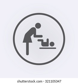 Woman and baby in circle . Toilet sign . Changing station . Vector illustration