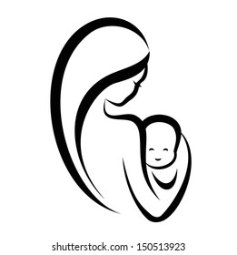 woman and baby, isolated vector symbol
