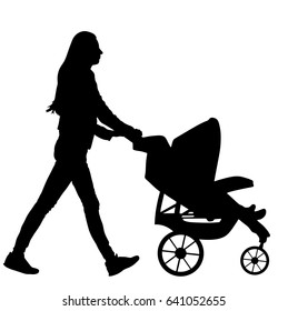 Woman with baby and pram silhouette isolated on white background, vector of baby carriage. Young mother walking with little child in baby stroller. Mom push baby trolley silhouette. Outdoor family.