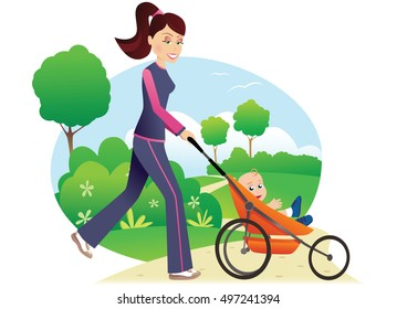 Woman with baby stroller in park.