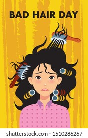 Woman with bad dry hair on yellow background. Vector illustration.