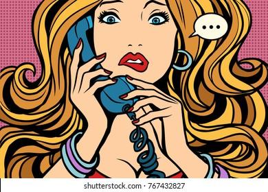 Woman, bad talking on the phone. Comic book cartoon pop art retro color illustration drawing