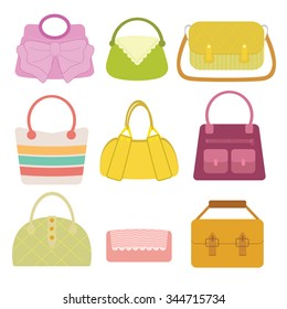 Woman Bag Collection in flat design with color variation