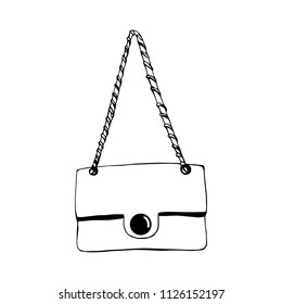 Woman bag hand drawn, female stylish purse vector fashion illustration black on white line. Ink hand drawn picture sign sketch in art doodle style. Perfect for logo, invitation, greeting card, poster