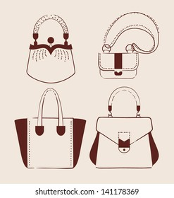 woman bags collection vector illustration eps 10