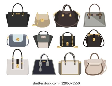 Woman bags Designer Ladies Handbag  collection of fashionable female accessories of different types isolated icons set vector.  Trendy leather women handheld bag isolated on white background