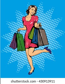 Woman with bags shopping. Vector illustration in comics pop art style. Special sale offers advertising poster.