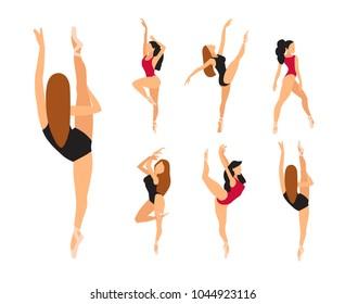 Woman Balet Dancer Set. Vector Flat illustration