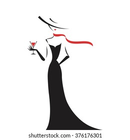 woman in the ball gown black silhouette vector