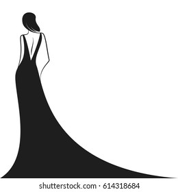 woman in the ball gown black silhouette. Back view. Vector