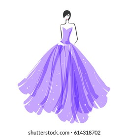 woman in the ball gown purple silhouette.Vector