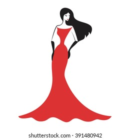 woman in the ball gown red silhouette vector