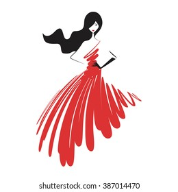 woman in the ball gown red vector
