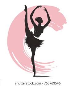 woman ballerina, ballet logo icon for ballet school dance studio vector illustration