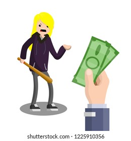 A woman with a baseball bat is extorting money. Hand holding green cash. The problem of urban security. Thief at work. Extortion and robbery.