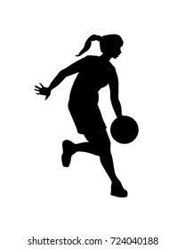 Woman basketball player. Vector black silhouette on a white background