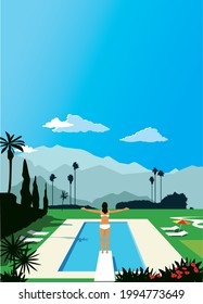 Woman in a bathing suit standing on a diving board over a luxurious outdoors pool in front of a beautiful resort landscape, EPS 8 vector illustration