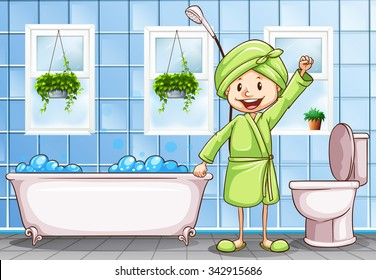 woman in the bathroom illustration