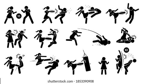 Woman beating man stick figure sign and symbols. Vector illustration of female versus male fighting by punching, kicking, slapping, throwing, and uppercut. The girl is strong and winning the fight.