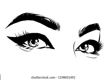 Woman beautiful eye with cat eyeliner. Fashion illustration